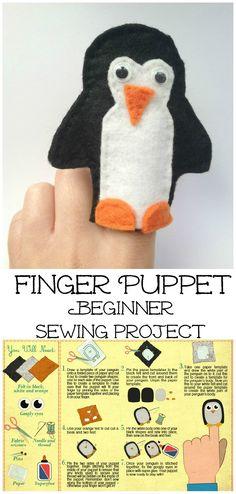 Finger puppet penguin beginner sewing tutorial