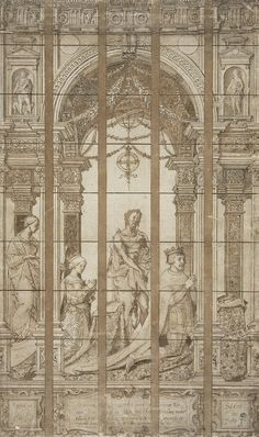 Juan III of Portugal and Catherine of Austria with St John the Baptist and St Catherine of Alexandria - Pieter Coecke van Aelst | Pen and brown wash, brush and brown and grey wash, Drawings
