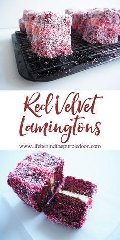 Red Velvet Lamingtons Inspired by Zumbo - Birthday Cupcake Ideen Zumbo's Just Desserts, Gourmet Desserts, Delicious Desserts, Easter Desserts, Plated Desserts, Zumbo Recipes, Zumbo Desserts, Zumbo Cakes, Pudding Recipes