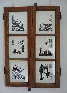 """Des Jägers Traum"" in antikem Fenster Paper Cutting Patterns, Papercutting, Scroll Saw Patterns, Quilling, Switzerland, Decoupage, Paper Crafts, Film, Floral"