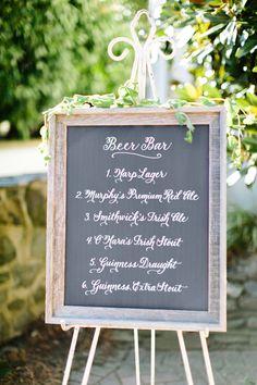 Chalkboard menu for beer bar