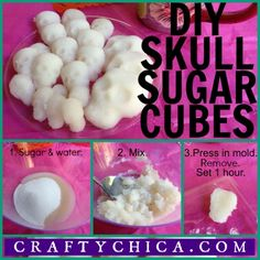 These are little sugar cubes in the shape of skulls that will make your drinks extra sweet- even before you dip in your pan de muerto. skull-sugar-cubes-tutorial