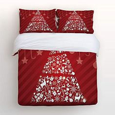 Festive Christmas Elements Cheerful Celebration Snowflake Santa Claus 4 pcs Duvet Cover Set Bedspread Daybed for Childrens/Kids/Teens/Adults Anzona 4 Piece Bedding Set King Size Kids' Furniture, Décor & Storage Kids' Bedding