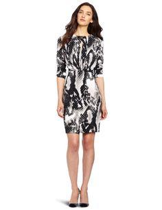 Amazon.com: Jones New York Women's Petite Jewel Neck Pleated Dress, Multi, Medium: Clothing