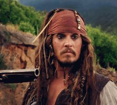 Johnny Depp as Cap'n Jack Sparrow. Pinning because his face...