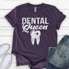 Dental Queen / Shirt / Tank Top / Dentist Shirt / Dentist Gift / Dental Hygienist / Dental Student / Gift For Dentist by TeeKittyKitty Dental Humor, Dental Hygienist, Dental Implants, Scrubs Funny, Dental Shirts, Emergency Dentist, Gifts For Dentist, Dental Crowns, After Life
