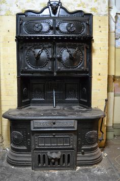 Vintage Stag's Head cook stove from National Stove Works, New York, USA. What a gaudy old stove!