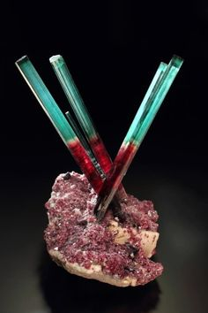 "Tourmaline  ""Bi-color Star' from the Bi-Color Steel Pocket,  Pederneira Mine, Sao Jose da Safira, Minas Gerais, Brazil    ; Malte Sickinger photo."