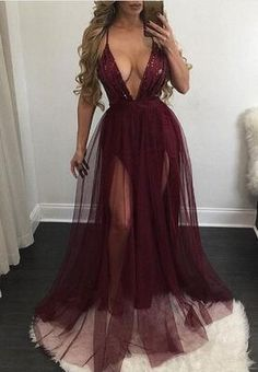 ♠Pinterest@gigi8869♦ don't forget to follow for more sickening pins ✌ 2017 long evening dress prom dress, sexy prom dress with slit, deep v-neck long prom dress, burgundy prom dress