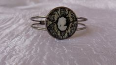 Black Lace bangle circle black brass by ArtisticBreaths on Etsy,. Bangle Bracelets, Bangles, Decoupage Paper, Gemstone Rings, Silver Rings, Brass, Trending Outfits, Lace, Unique Jewelry