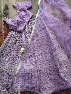 Lilac Foil Work Lehenga with Mirrorwork Blouse and Sequinned Dupatta Half Saree Designs, Saree Blouse Neck Designs, Lehenga Designs, Blouse Designs, New Dress Design Indian, Dress Indian Style, Indian Dresses, Abaya Style, Indian Bridal Outfits