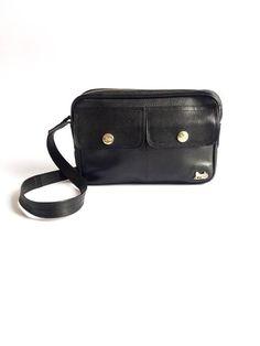 CELINE Paris vintage black leather shoulder messenger bag 25b152193578a