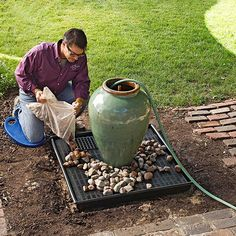 Learn How to Make This Amazing Garden Fountain DIY Outdoor Fountain. This is really easier than you think! I want to do this with an overturned urn. Outdoor Water Features, Water Features In The Garden, Diy Fountain, Fountain House, Rock Fountain, Fountain Design, Backyard Water Feature, Diy Water Feature, Lawn And Garden