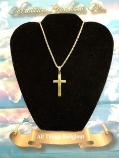 """Men/women Gold plated Cross with gold Stainless steel 23""""Rolo chain  #ChristianHouse #Chain"""