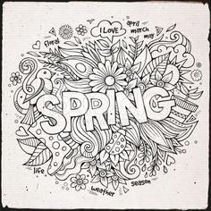 Spring hand lettering and doodles elements royalty-free stock vector art