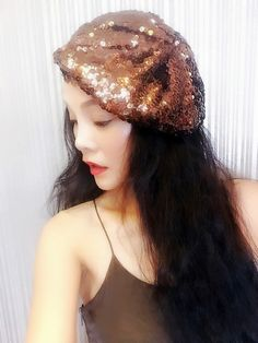 Brown Sequin Beret,Womens Turban,Full Turban,Turban Headband,Turban Hat,Stretch Turban, Caps, Hats, Women Hats,Fashion Turban,Head Wrap,Head Scarf,Headband,Hipster,Fashion,Gift ,Show, Party ,Holiday. Incomparable shining, to add more charm. Easily adapt to your head shape and are designed to afford the individual wearer room to perfect their chosen positioning. This style can be worn centrally or to the side for an asymmetrical finish and is suitable for those with and without hair.About...
