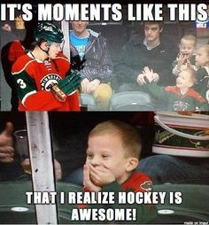 Little hockey fan! He's so cute! (and we already knew hockey is awesome! Wild Hockey, Hockey Mom, Hockey Stuff, Youth Hockey, Hockey Rules, Hockey Gifts, Sweet Stories, Cute Stories, Beautiful Stories
