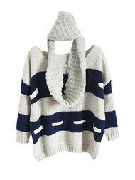 Striped Long Sleeve Women Sweater With Scarf