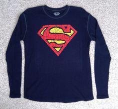 Men SUPERMAN WORD CLOUD ART LONG SLEEVE SHIRT Navy-Blue Thermal Long-John Fabric #StarWars #Pullover