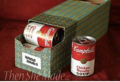 Turn old soda boxes into soup can rotators.  Out with the old, in with the stew, I mean new!