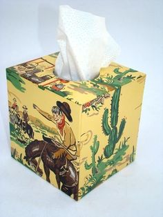 Gabby Hayes Cowboy 1950s Vintage Wallpaper Tissue Box By Fondue 3600 These Guys Have So