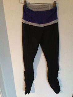 Lululemon Run Tights Pant Pace Queen Black Bruised Berry Purple Blue Ruffle Sz 4 #Lululemon #PantsTightsLeggings