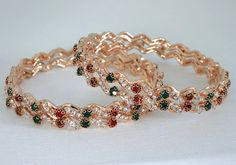 Ethnic Indian Fashion Jewelry Bangle set with Green,Red and White stones studded-12BANJ11  http://www.craftandjewel.com/servlet/the-1760/Fashion-Jewelry-Bangle-set/Detail