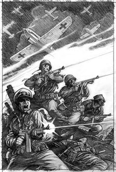 Mark Schultz's pencil art of The Losers, used as the cover for *Our Fighting Forces.*