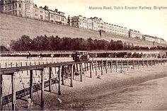 Brighton Postcard, Madeira Rd & Volks Electric Railway in Collectables… Brighton Sea, Brighton East Sussex, Brighton Rock, Brighton England, Brighton And Hove, Old Postcards, Vintage Travel Posters, Old Photos, Paris Skyline