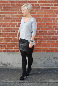 Black Swan - Black Swan Knit top and Sequin skirt. #4Party and Daily# - Casual Chic.