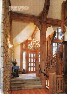 Entryway Mountain home. timber and stone