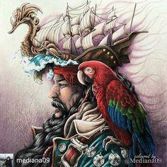 @Regrann_App from @mediana09 -  А вот и мои пират и Кеша для марафона #fantasiacoloringmarathon Фон был задуман немного мрачным, чтобы не возникали всякие мысли о море и лете #coloringbooks #coloringbooks #coloringforadults #coloring #раскраска #раскраскадлявзрослых #раскраскаантистресс #målarbok #大人の塗り絵 #塗り絵 #おとなの塗り絵 #コロリアージュ #컬러링북 #컬러링 #artecomoterapia #boracolorirtop #colorindolivrostop #coloring_secrets #bayan_boyan #beautifulcoloring #nickfilbert #fantasia #fantasiacoloringbook...