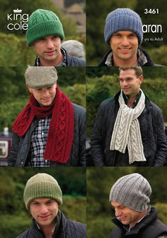 King Cole Knitting Pattern: Mens & Boys Hats and Scarves, Aran, 3461 Knit Hat For Men, Hats For Men, Wooly Hats, Knitted Hats, Chunky Knitting Patterns, Crochet Patterns, Baby Patterns, Free Knitting, Crochet Ideas