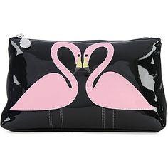 LULU GUINNESS Kissing Flamingos pouch (Black