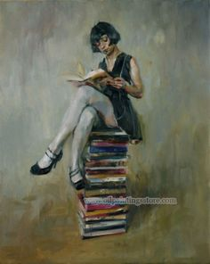 Hand-painted Figure Oil Painting - Reading