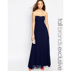 True Decadence Tall Bandeau Maxi Dress (860 MXN) ❤ liked on Polyvore featuring dresses, navy, maxi dress, navy chiffon dress, white chiffon dress, tall dresses and navy dress