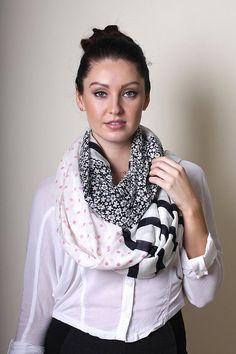 Infinity circle loop scarf in a unique, one of a kind triple print design - polka dot, stripe and floral prints. Very pretty and fresh all season