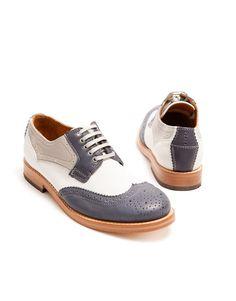 H by Hudson Olsen Calf Brogue Shoe in Navy Multi