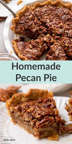 An easy recipe for homemade pecan pie that turns out perfect every time. This classic pecan pie is a family favorite and perfect for the holidays! Includes a full video tutorial for how to make this pie too! #pie #Thanksgiving #pecan #pecanpie #dessert #theholidays #easy #classic #livewellbakeoften