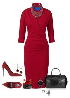 """""""Red Dress"""" by pkoff ❤ liked on Polyvore featuring Winser London, Chico's, Lerre, bleu, Halston Heritage and Olivia Burton"""