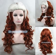 Newest  X Men   Rogue Brown Red /White mixed long wavy cosplay Wig Free Shipping-in Synthetic Wigs from Health & Beauty on Aliexpress.com | Alibaba Group