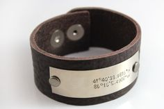 Custom Men's Thick Leather Cuff Bracelet with Custom Coordinates | Hand Made Rugged Men's Accessory