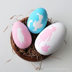 Silhouette Stenciled Easter Eggs