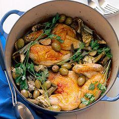 Chicken Halves with Artichokes and Garlic