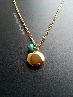 Tiny gold locket turquoise picasso bead minimalist necklace bohemian necklace