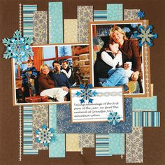 Like the strips of paper as a background winter scrapbook layout