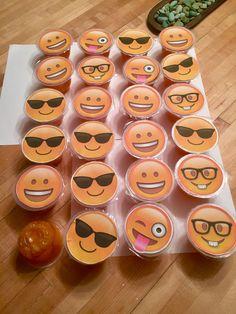 Semi-healthy, pre-packaged birthday treat. Mandarin orange cups with emoji tops.