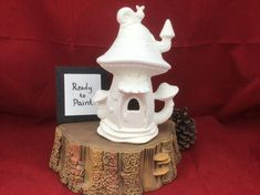 """This cute ceramic bisque is ready to paint and a great DIY project for yourself or the kids at home. Fairy houses are a great addition to any home garden, perfect home decor or as a great gift for that someone special. Fairy House is approximately 8""""T x 5""""W this listing is for non-painted bisque Pottery Painting, Ceramic Painting, Diy Painting, Diy Projects Etsy, Easy Diy Projects, Ready To Paint Ceramics, Ceramic Shop, Free Hand Drawing, Ceramic Bisque"""