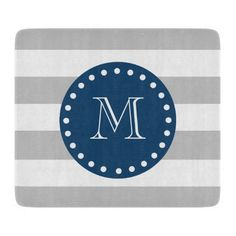 Gray White Stripes Pattern, Navy Blue Monogram Cutting Board #cutting #board