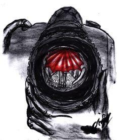 illustration_black and white_red_camera_rain_love
